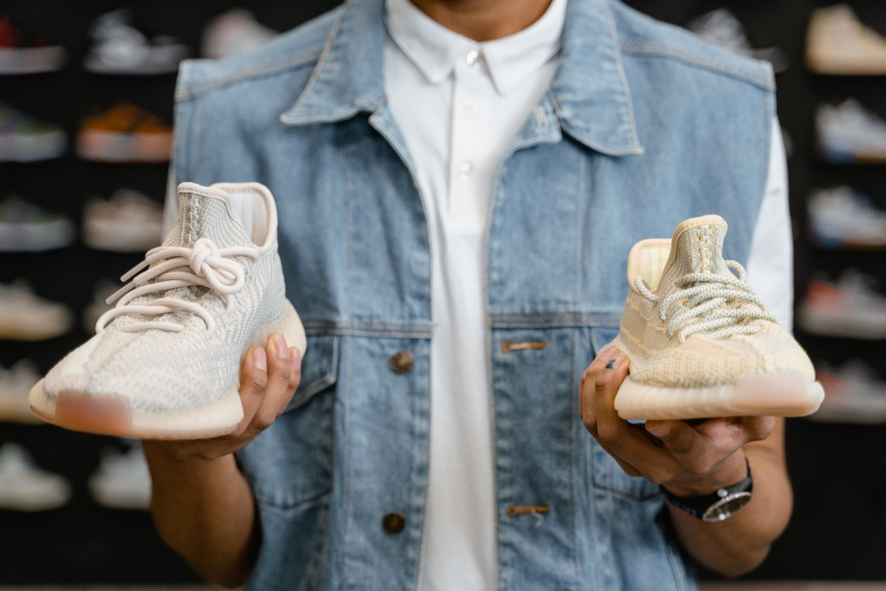 two types of white sneakers